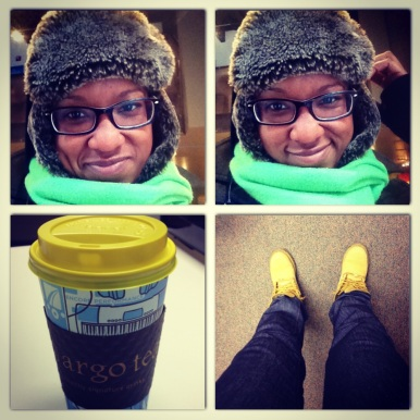 Furry hat, timbs, and Chai latte day in Chicago