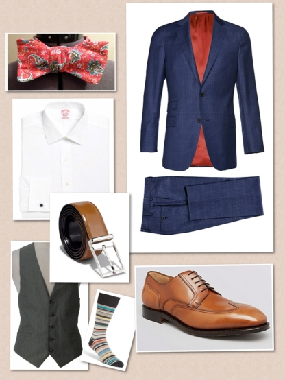 Sienna blue check suit, SuitSupply  Bowtie- debonairbowties.com  Salvatore Ferragamo belt  Socks: Paul Smith  Shoes: Salvatore Ferragamo candida leather wingtip oxfords  Shirt: Brooks Brothers