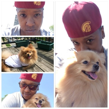 Summer with my pooch, Bailey, means USC snapback and t-shirt